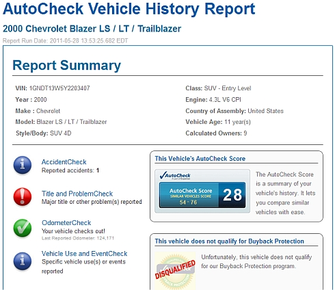 history number report vehicle vin